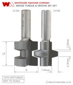 Whiteside Wedge Tongue and Groove Router Bit Set