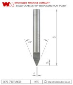Whiteside Machine Company solid carbide 45 degree engraving pencil point router bit SC75