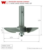 Whiteside 6000E Large Raised Panel Cove Pattern Router bit
