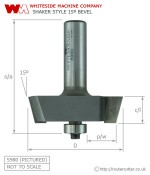 Whiteside Raised Panel 15 Degree Bevel Shaker Style Router Bit