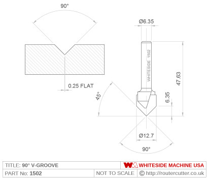 2 Flute carbide tipped Whiteside 1502 v-point 90 degree router bit for v grooving wood, plastic and composites. V-point router bits for carving and engraving in both CNC and hand carving router applications. Great for palm routers and sign making.