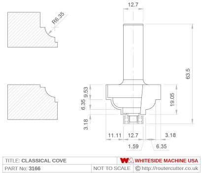 Whiteside 3166 Classical Cove Router Bit