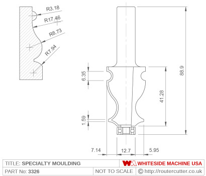 Whiteside 3326 Specialty Edge Moulding Router Bit