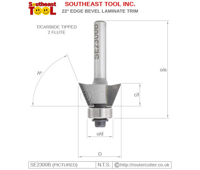 2 Flute ball bearing guided Southeast Tool SE2300B 22 degree edge bevel router bit for veneer and laminate trimming operations. Suitable for palm routers and trimming routers. Create 68 degree timber edge chamfers.