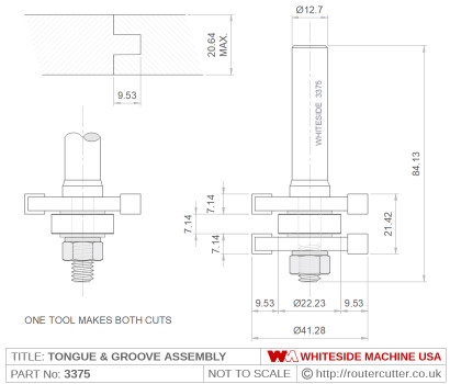 Ball bearing guided Whiteside 3375 Tongue and Groove Assembly Glue Joint Router Bit. Whiteside 3375 T and G assembly makes both cuts. Tongue thickness is 7.14mm (9/16