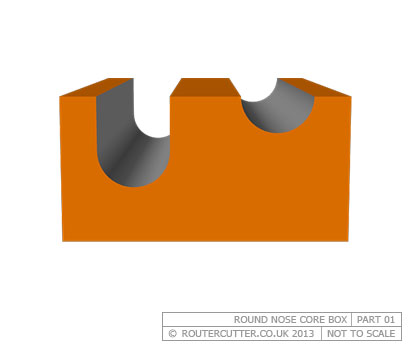Whiteside Round Nose Core Box Router Bit - Cut Profile - Part 1