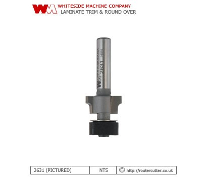2 Flute tungsten carbide tipped Whiteside 2631 laminate trimming router bit for simultaneous flush trim and roundover. The 2631 produces a 1.59mm (1/16