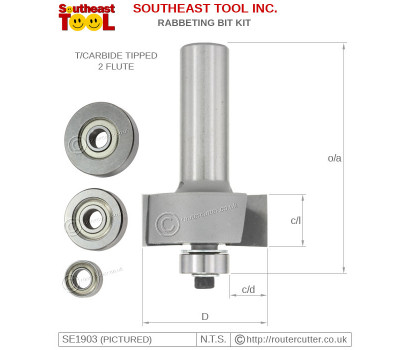2 Flute tungsten carbide tipped Southeast Tool SE1903 multi rabbeting bit kit with 4 ball bearing guides. SE1903 for 1/2
