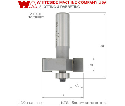 Whiteside Slotting and Rabbeting Router Bit 2 Flute Bearing Guided
