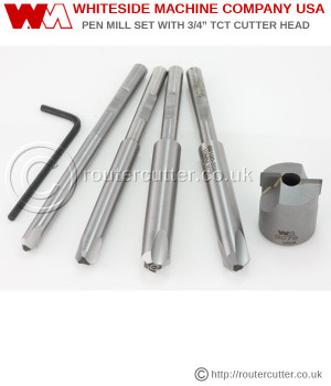 "Whiteside 9105 Pen Mill Set includes 4 pen reamers and the tungsten carbide tipped 2 flute 3/4"" barrel trimmer. The pen reamers include 7mm kit pen reamer, letter ""O"" kit pen reamer, 10mm kit pen reamer and the 27/64"" kit pen reamer made of M2 HSS."