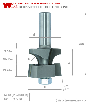 Whiteside 6010 Recessed Door Edge Finger Pull Router Bit