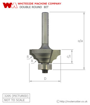 Whiteside Double Round Router Bit