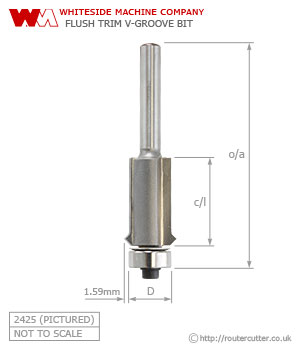 Whiteside Flush Trim V-Groove Router Bit