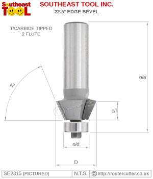 2 Flute tungsten carbide tipped Southeast Tool 22.5 degree edge bevel router bit with ball bearing guide.