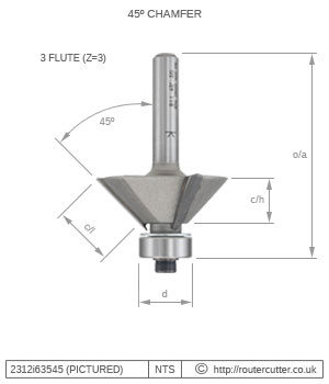 3 Flute 45 Degree Bearing Guided Chamfer Router Bit