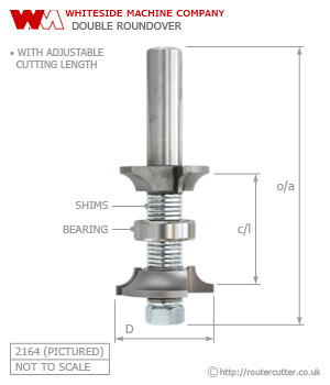 Whiteside Double Roundover and Beading Router Bit 2160 - 2162 - 2164