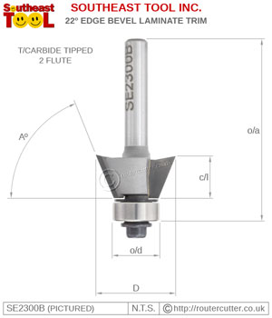"1/4"" shank tungsten carbide tipped Southeast Tool SE2300B 22 degree edge bevel router bit for laminate and veneer trimming and timber edging operations. SE2300B is 2 flute and bearing guided, suitable for palm routers and trimming routers."