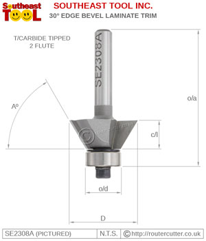 "Ball bearing guided Southeast Tool SE2308A edge bevel router bit for 30 degree veneer and laminated trimming. SE2308A for 60 degree timber edge chamfers. 1/4"" Edge bevel router bits for palm routers and small trimming routers."