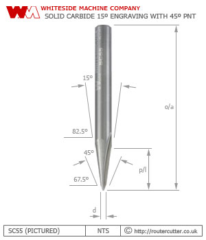 Whiteside Machine Company SC55 solid carbide15 degree engraving router bit with 2.38mm by 45 degree point SC75