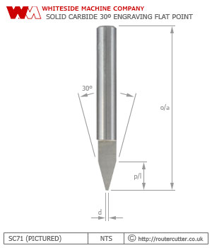 Whiteside Machine Company SC71 solid carbide 30 degree engraving flat point router bit