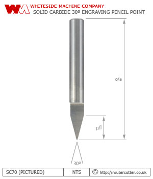 Whiteside Machine Company SC70 solid carbide 30 degree engraving pencil point router bit