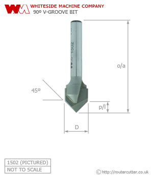 Whiteside 90 Degree V Groove Router Bit