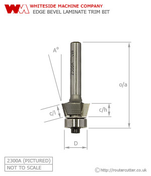 Whiteside Edge Bevel Laminate Trim Router Bit