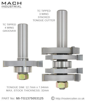 "Mach Industrial MI-TG1375053125 tongue and groove router bit set for maximum stock thickness of 31.75mm (1-1/4""). Stacked slotting cutters factory assembled for perfect tongue and groove joinery. All replaceable components, brazed tungsten carbide."