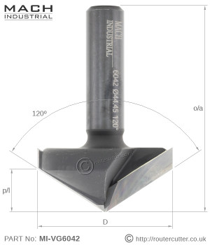 "1/2"" Shank Mach Industrial MI-VG6042 120 degree v-groove router bit. 2 Flute tungsten carbide tipped 120 degree v-grooving router bit for high demand CNC applications."