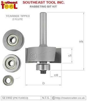"1/4"" Shank rabbeting router bit with 1/2"" CEL and supplied with 4 different ball bearing sizes. Ideal for timber edge rebates. A multi rabbeting router bit set."