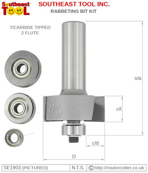 "1/2"" Shank rabbeting router bit with 1/2"" CEL and supplied with 4 different ball bearing sizes. Ideal for timber edge rebates. A multi rabbeting router bit set."