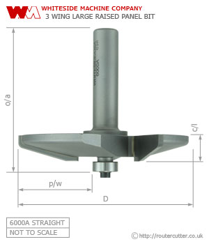 Whiteside 6000A Large Raised Panel Straight (radius reveal) Pattern Router bit
