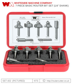 "Whiteside Machine Company Set 402 7 Piece Basic Router Bit Set 1/4"" Shank"