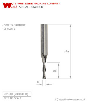 Whiteside Spiral Down Cut Router Bit Solid Carbide 2 Flute
