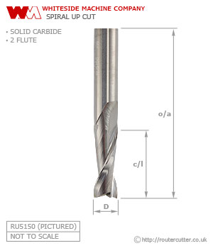 Whiteside Spiral Up Cut Router Bit 2 Flute Solid Carbide