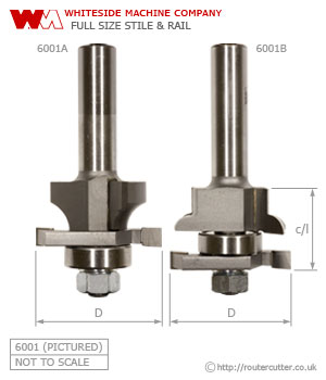 Whiteside Full Size Stile and Rail Router Bit Set