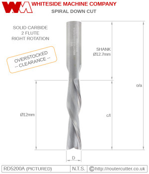 "2 Flute solid carbide Whiteside RD5200A down cut spiral with 12.7mm (1/2"") shank and 12mm cutting edge diameter. RD5200A is a custom made router bit by Whiteside Machine Co. and machined in the USA from high grade industrial micro grain carbide."